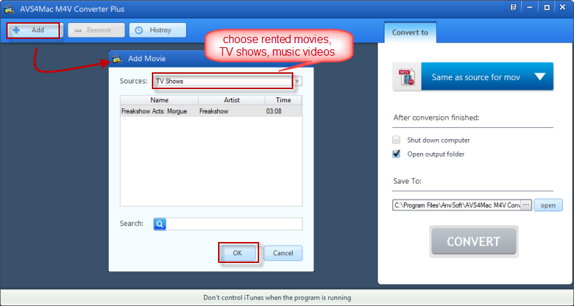 add iTunes M4V rented videos for converting