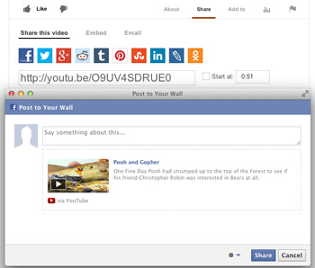 share YouTube videos on Facebook from YouTube